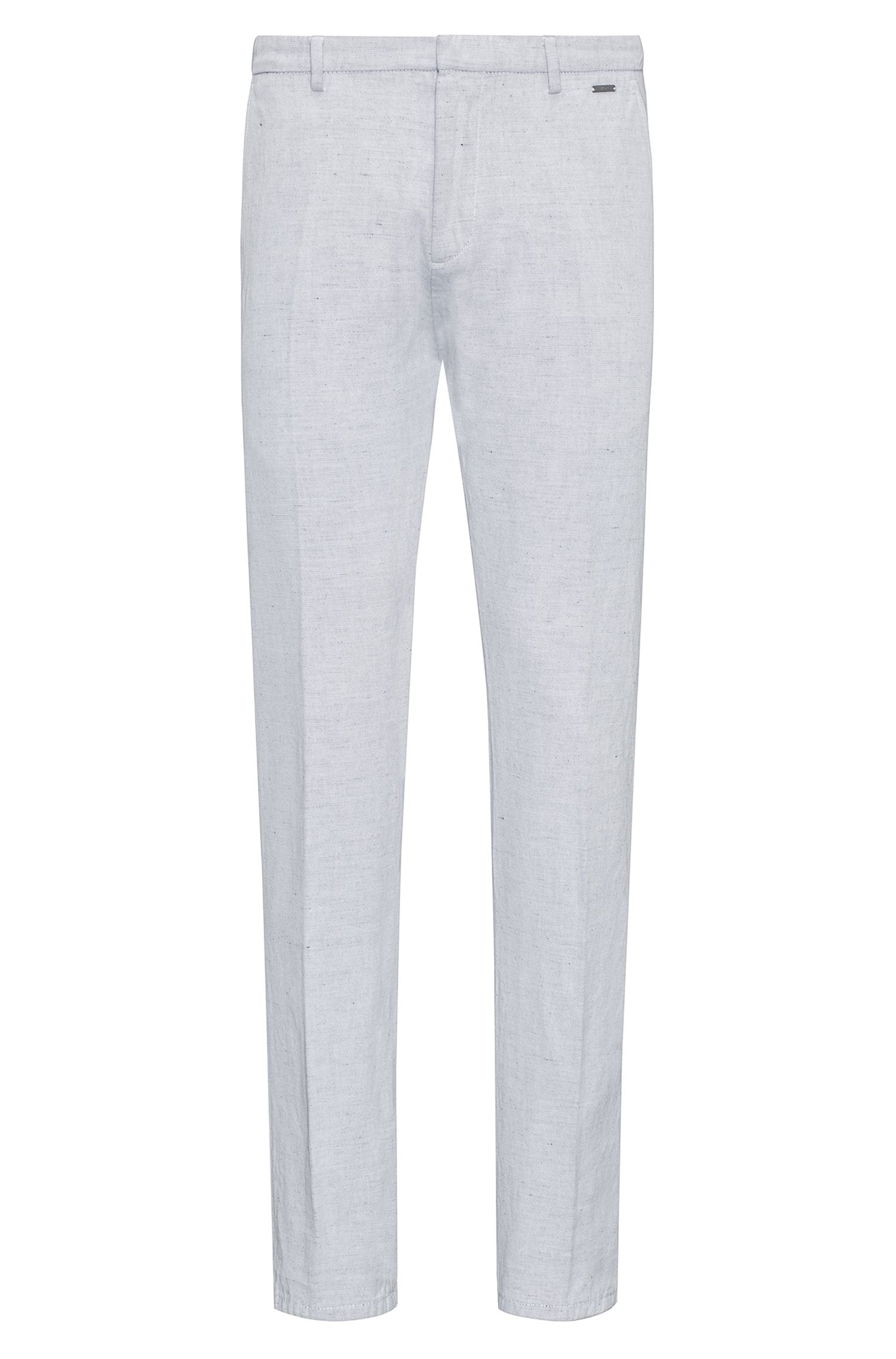 Dyed slim-fit trousers in cotton with a touch of linen