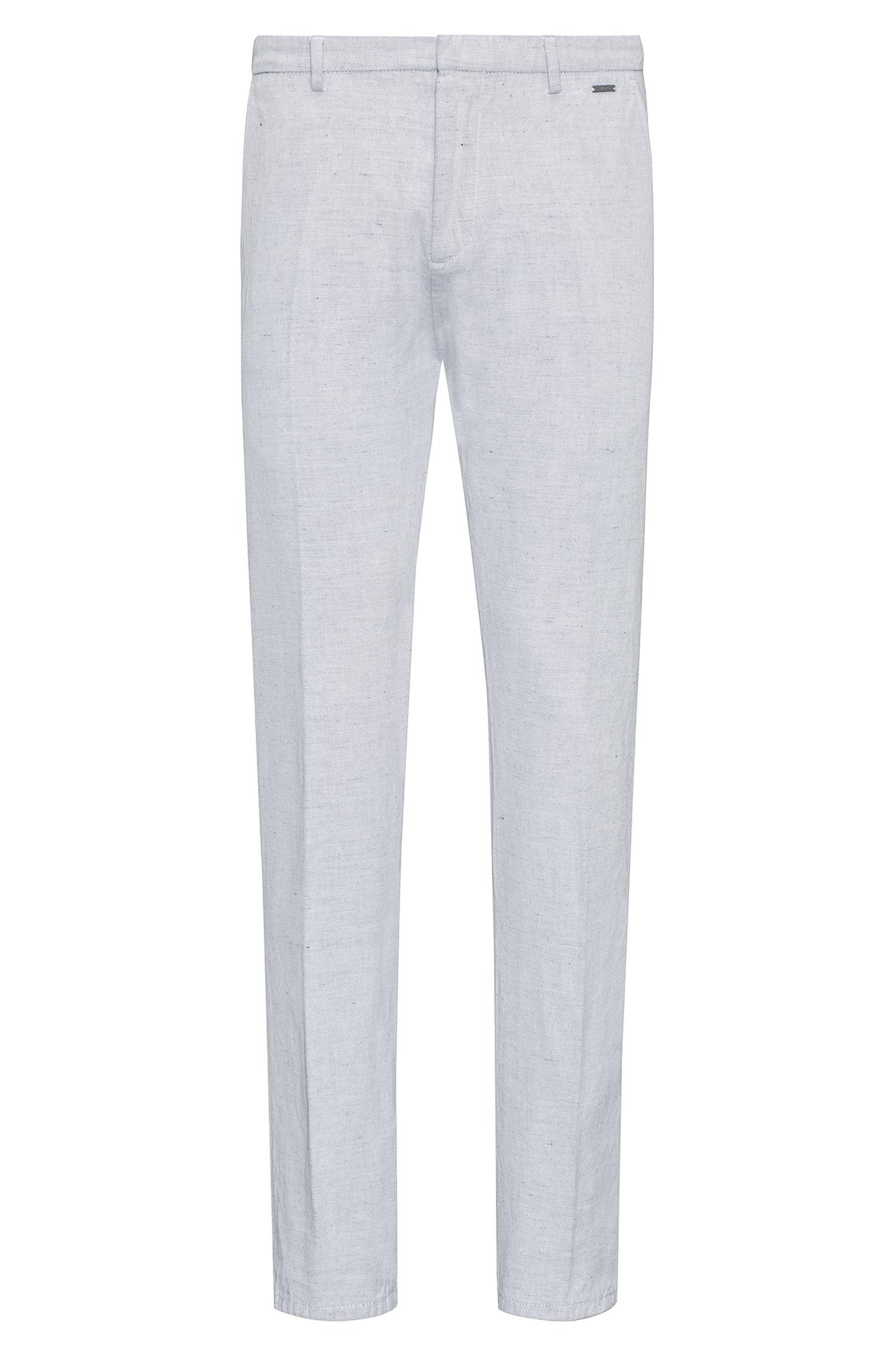 Gefärbte Slim-Fit Hose aus Baumwoll-Mix mit Leinen