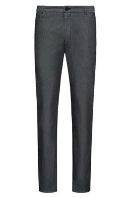 Extra slim-fit broek in tweekleurige stretchgabardine, Zwart