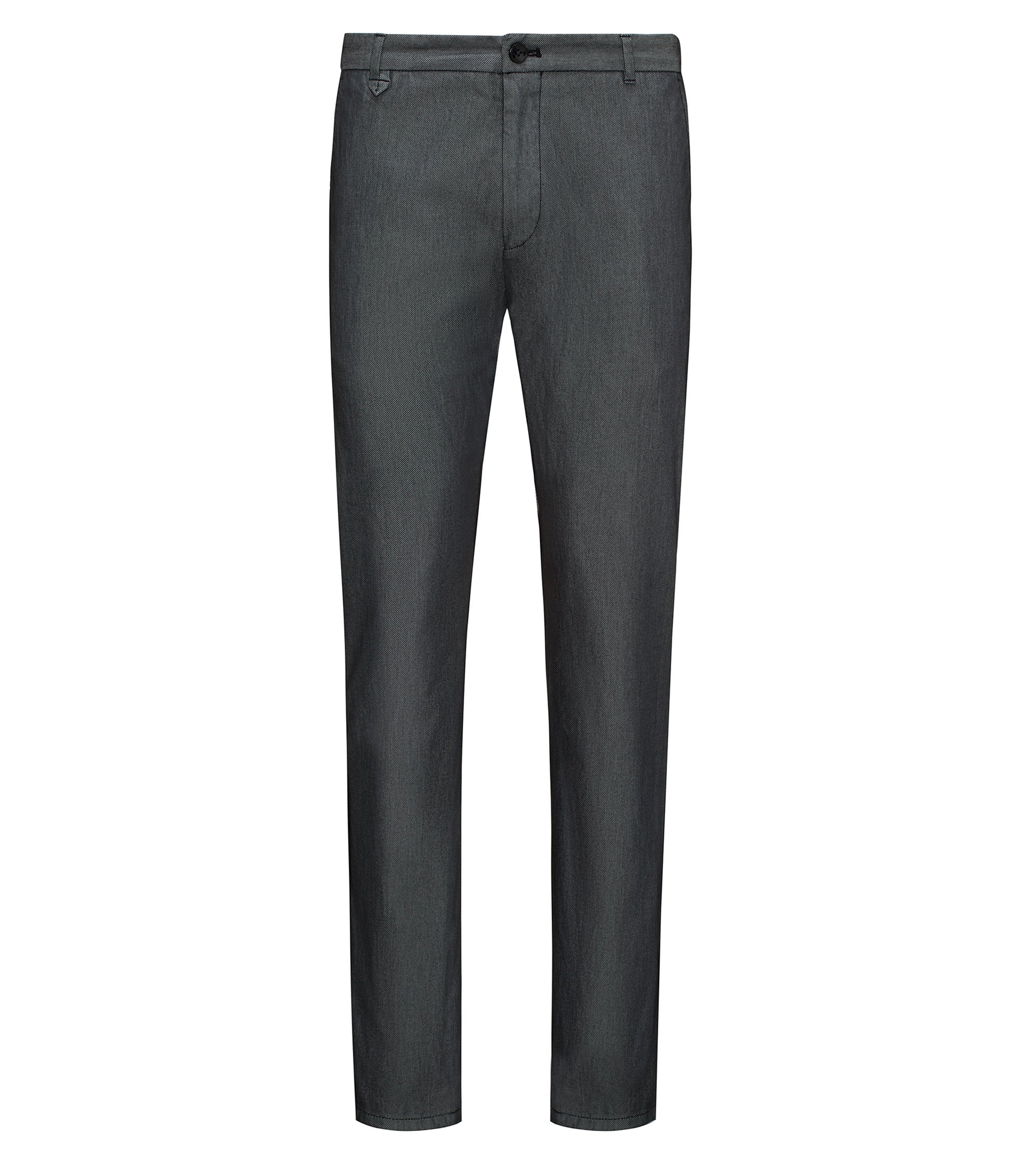 Extra-slim-fit trousers in two-tone stretch gabardine, Black