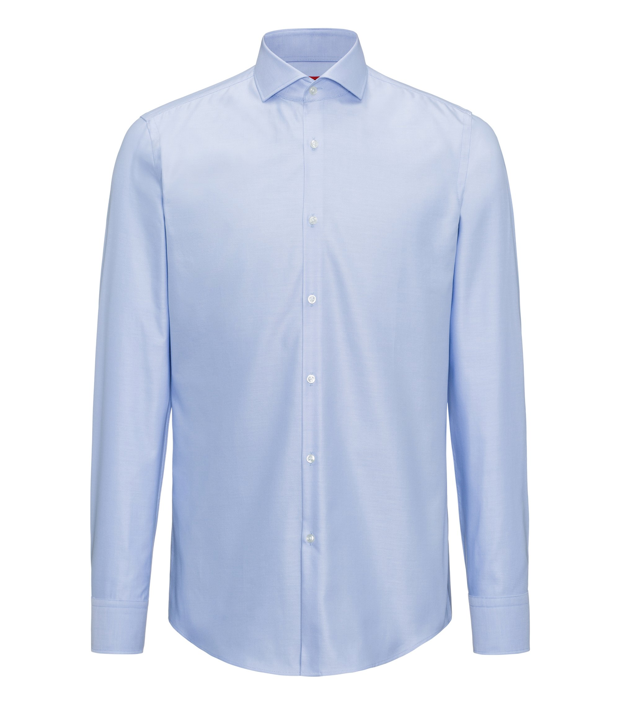 Slim-fit shirt in micro-pattern cotton, Light Blue