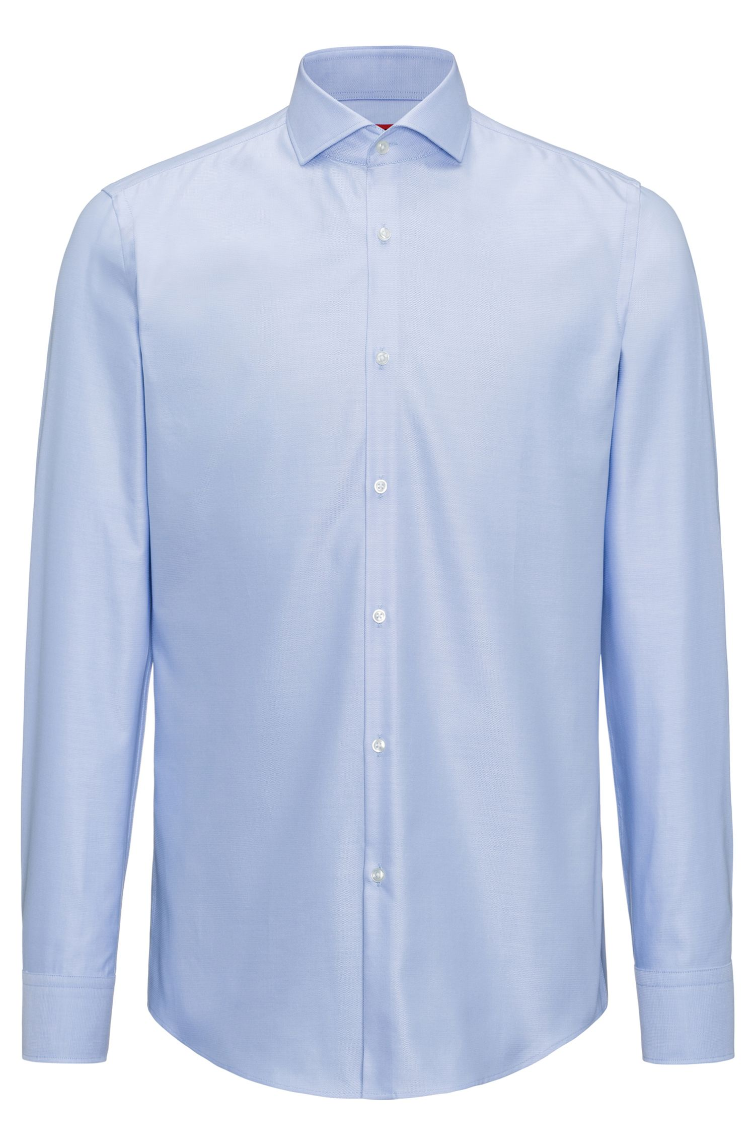 Slim-fit shirt in micro-pattern cotton
