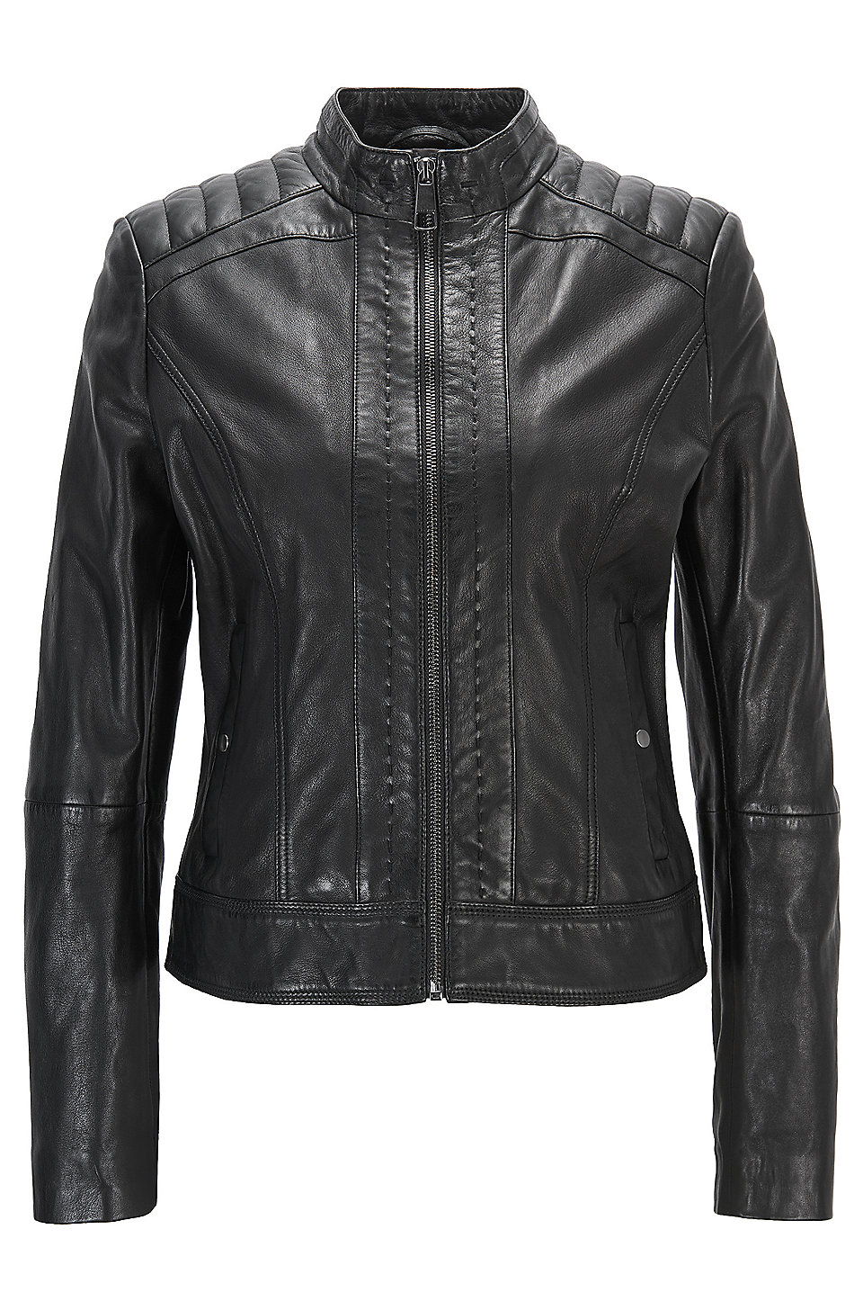 Lightweight slim-fit leather jacket with contrast lining, Black