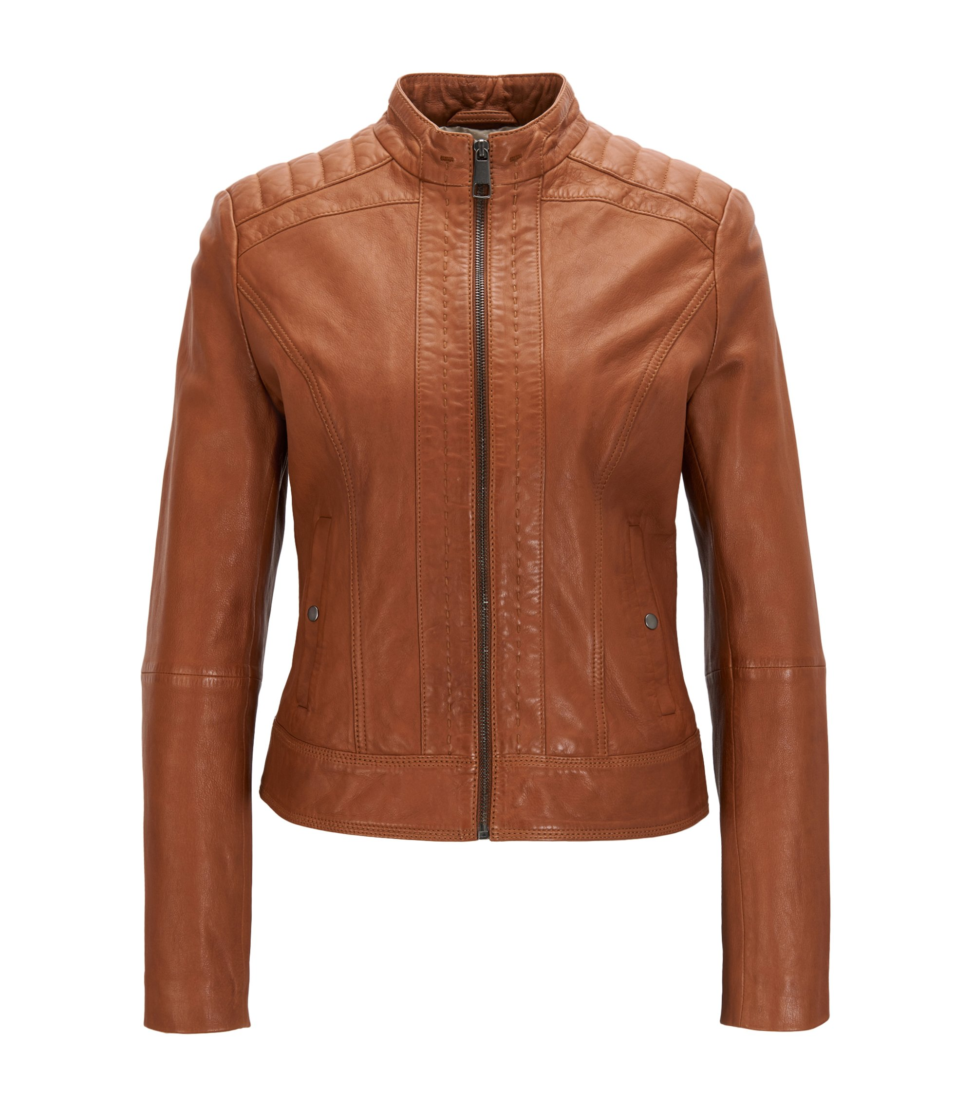 Lightweight slim-fit leather jacket with contrast lining, Light Brown