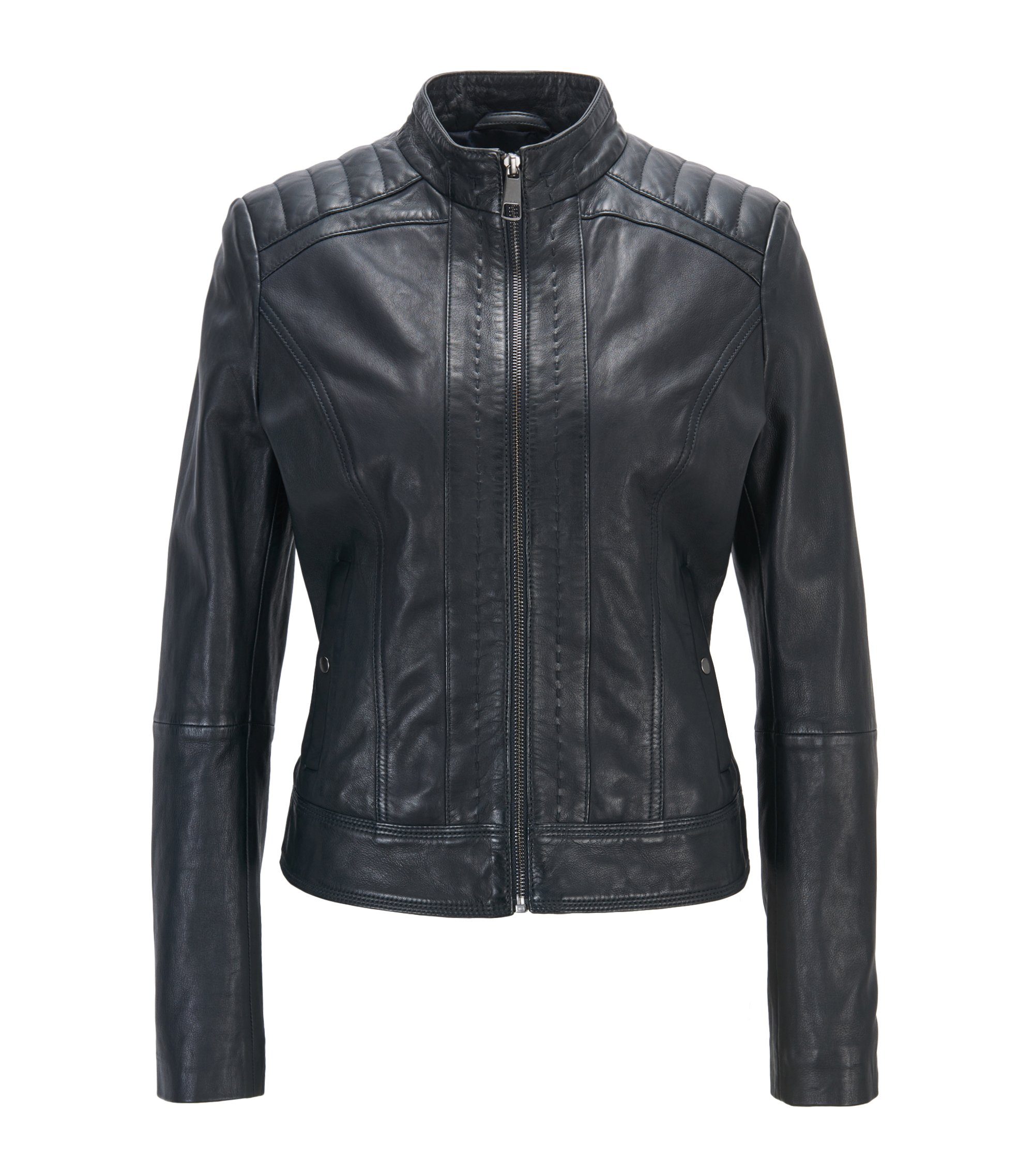 Lightweight slim-fit leather jacket with contrast lining, Dark Blue