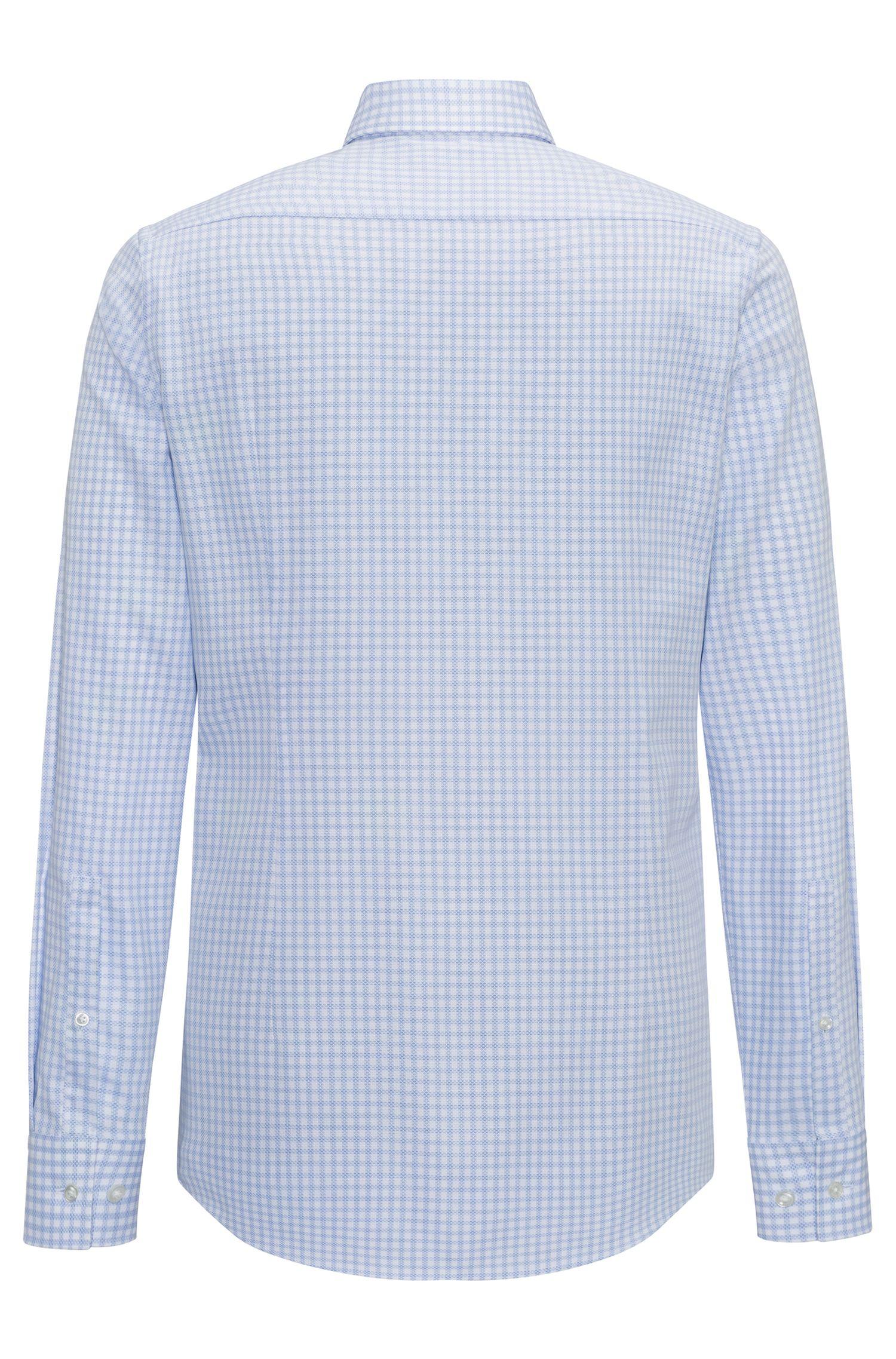 Slim-fit overhemd van geruite katoenpiqué