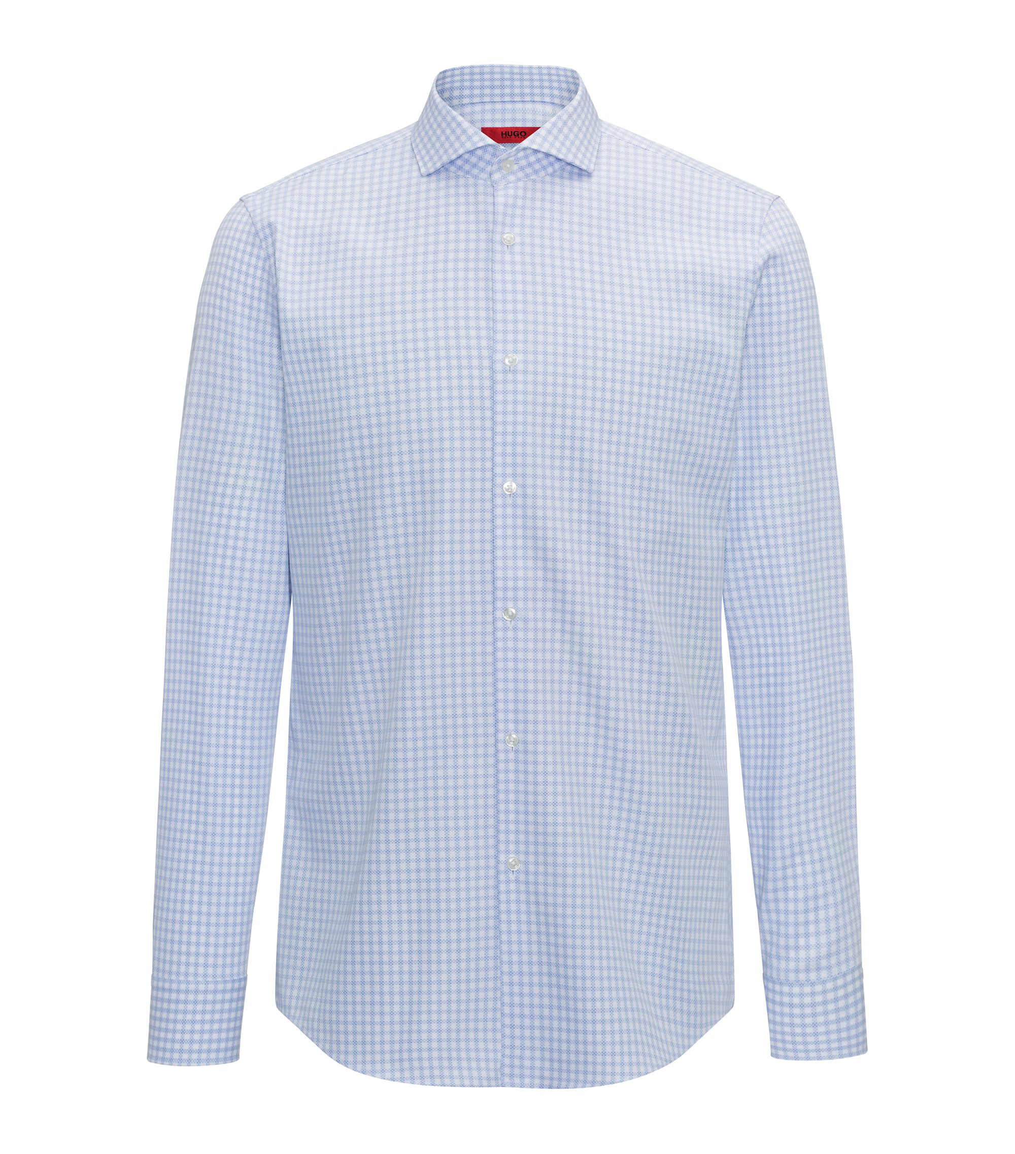 Slim-fit shirt in checked cotton piqué, Light Blue