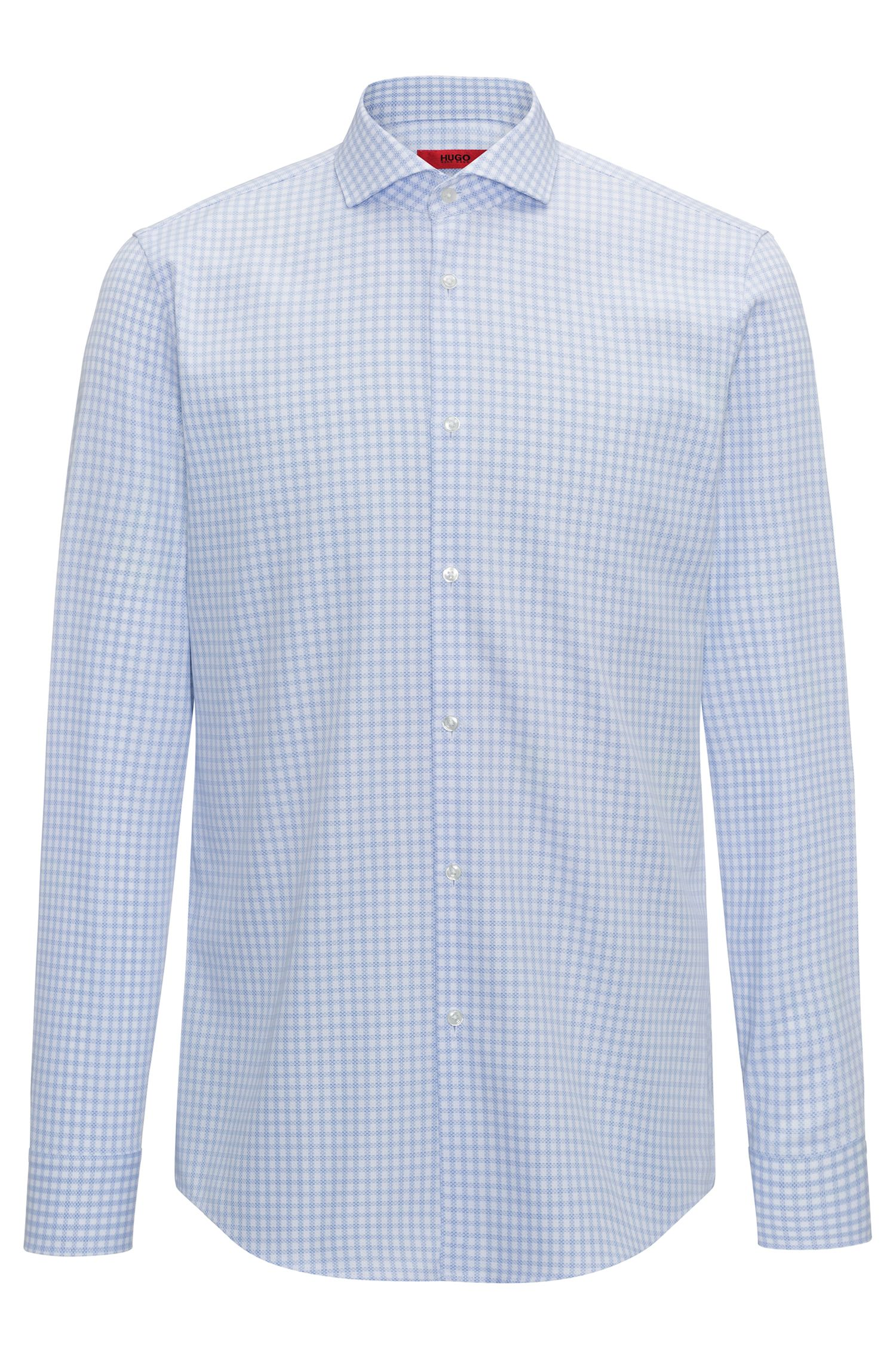 Slim-fit shirt in checked cotton piqué