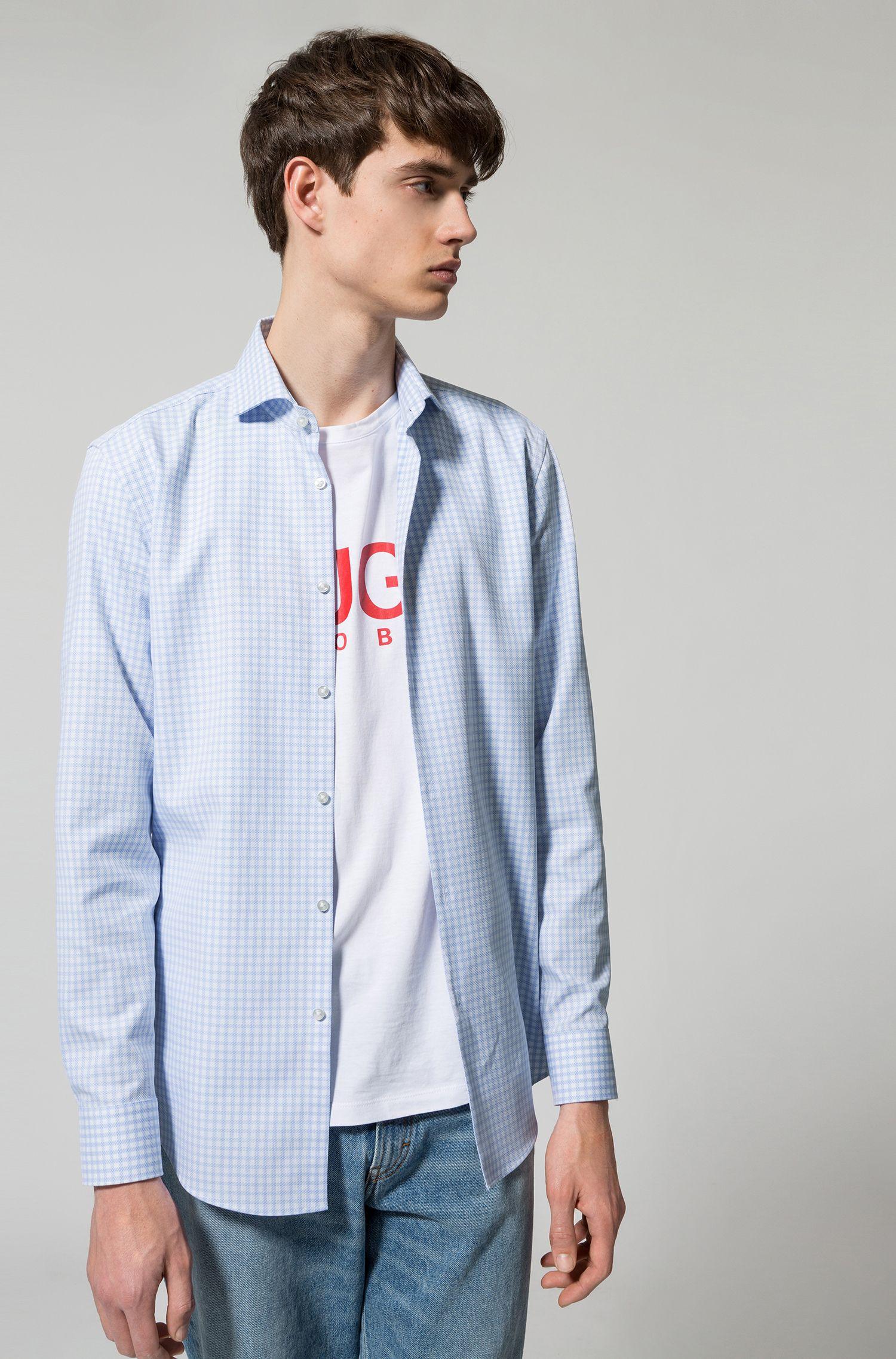 Chemise Slim Fit à carreaux, en piqué de coton
