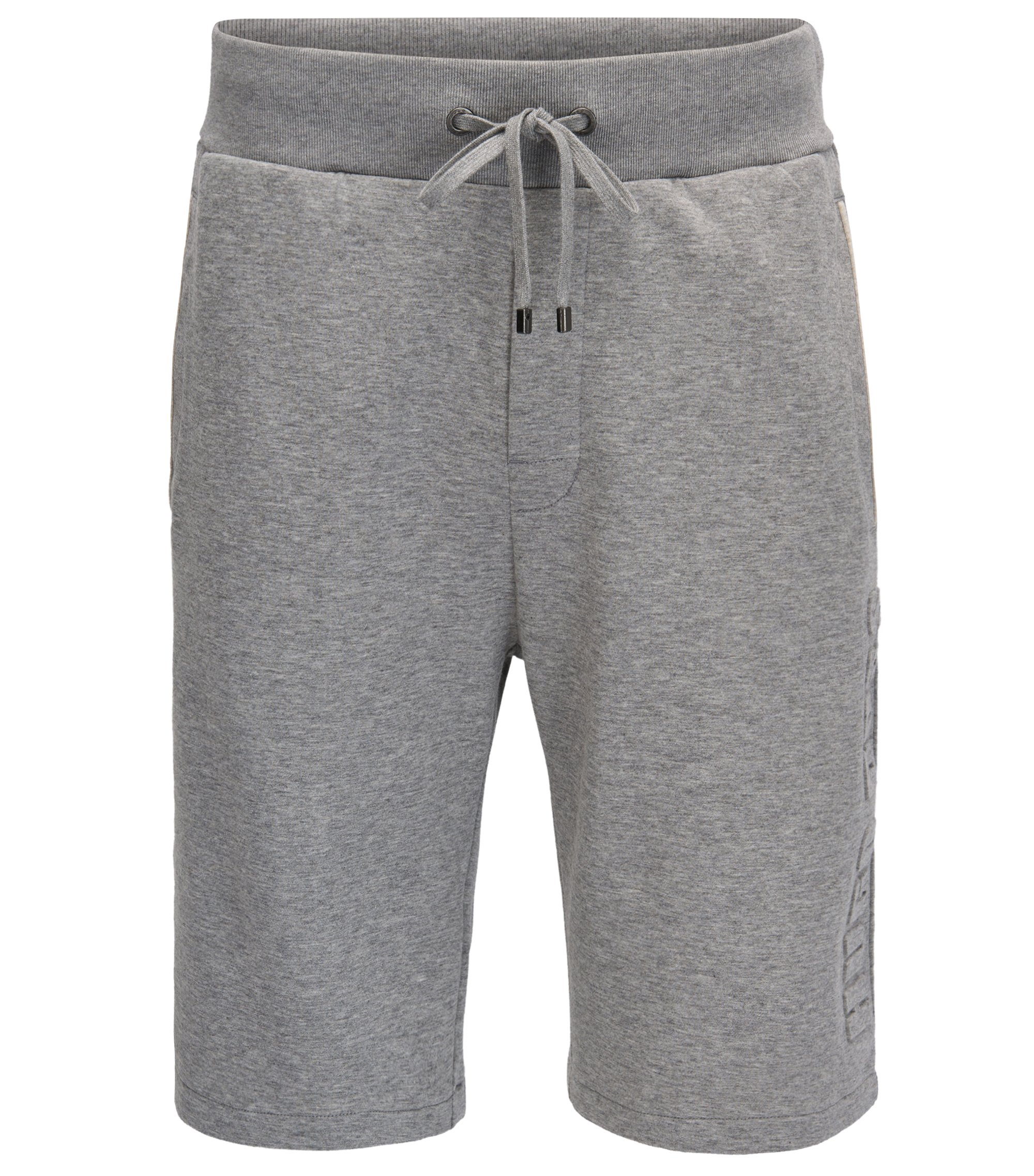 Loungewear shorts in a double-face cotton blend, Grey