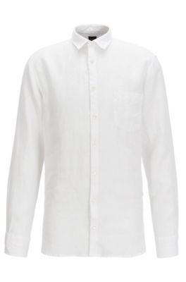 Chemise Slim Fit teinte aux pigments, en lin frais, Blanc