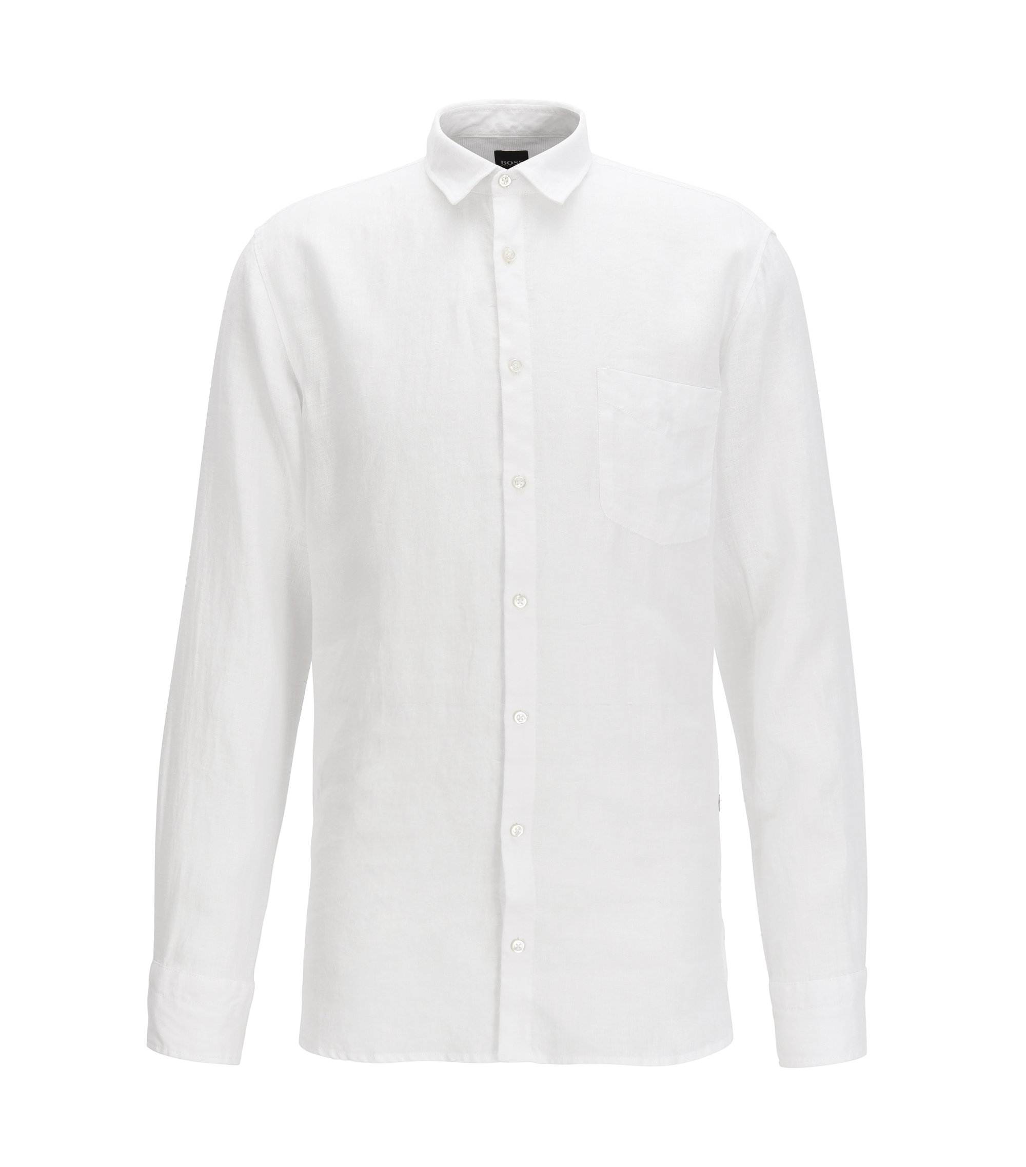Slim-fit pigment-dyed shirt in cool linen, White
