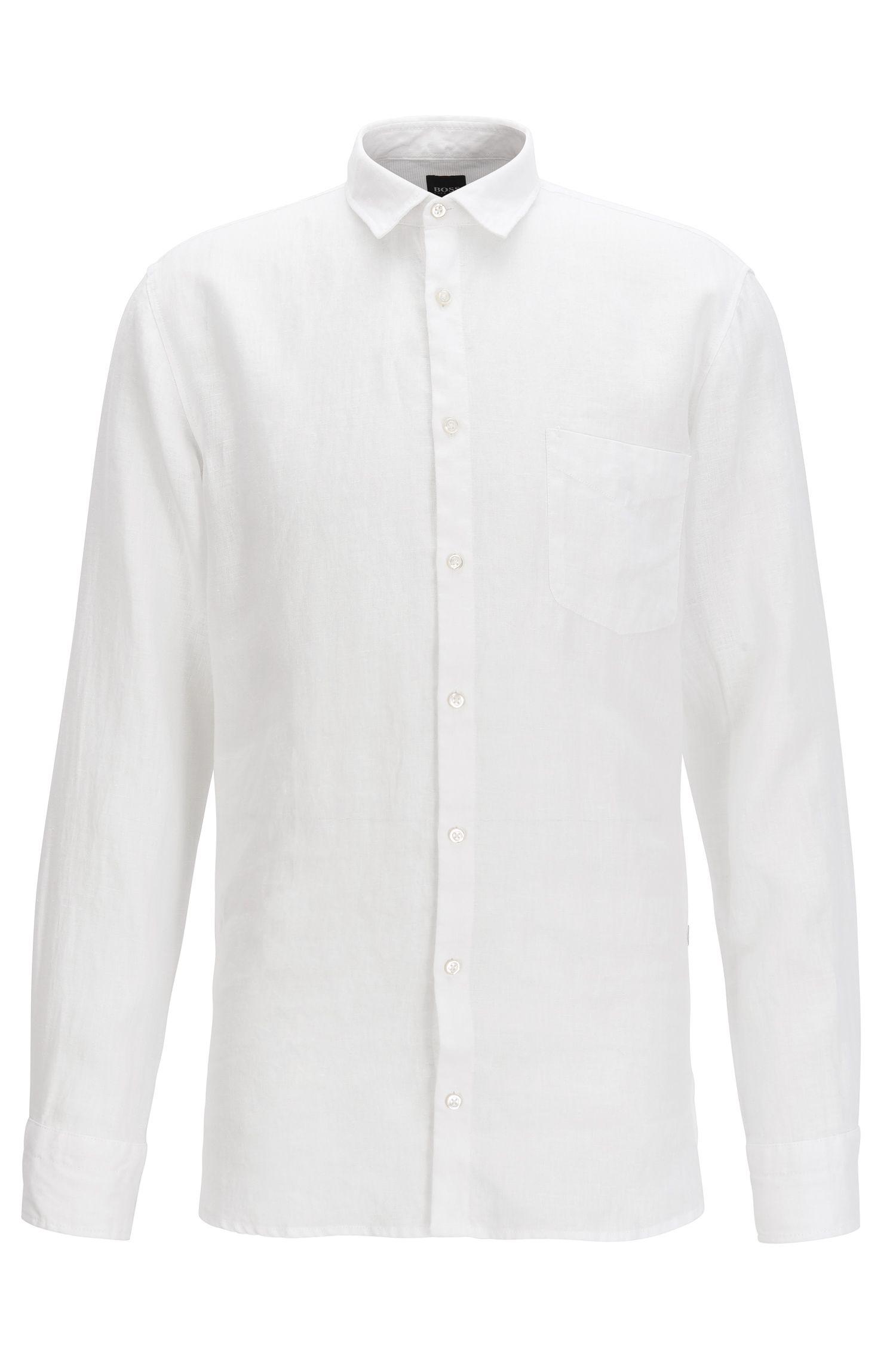 Slim-fit pigment-dyed overhemd van verkoelend linnen