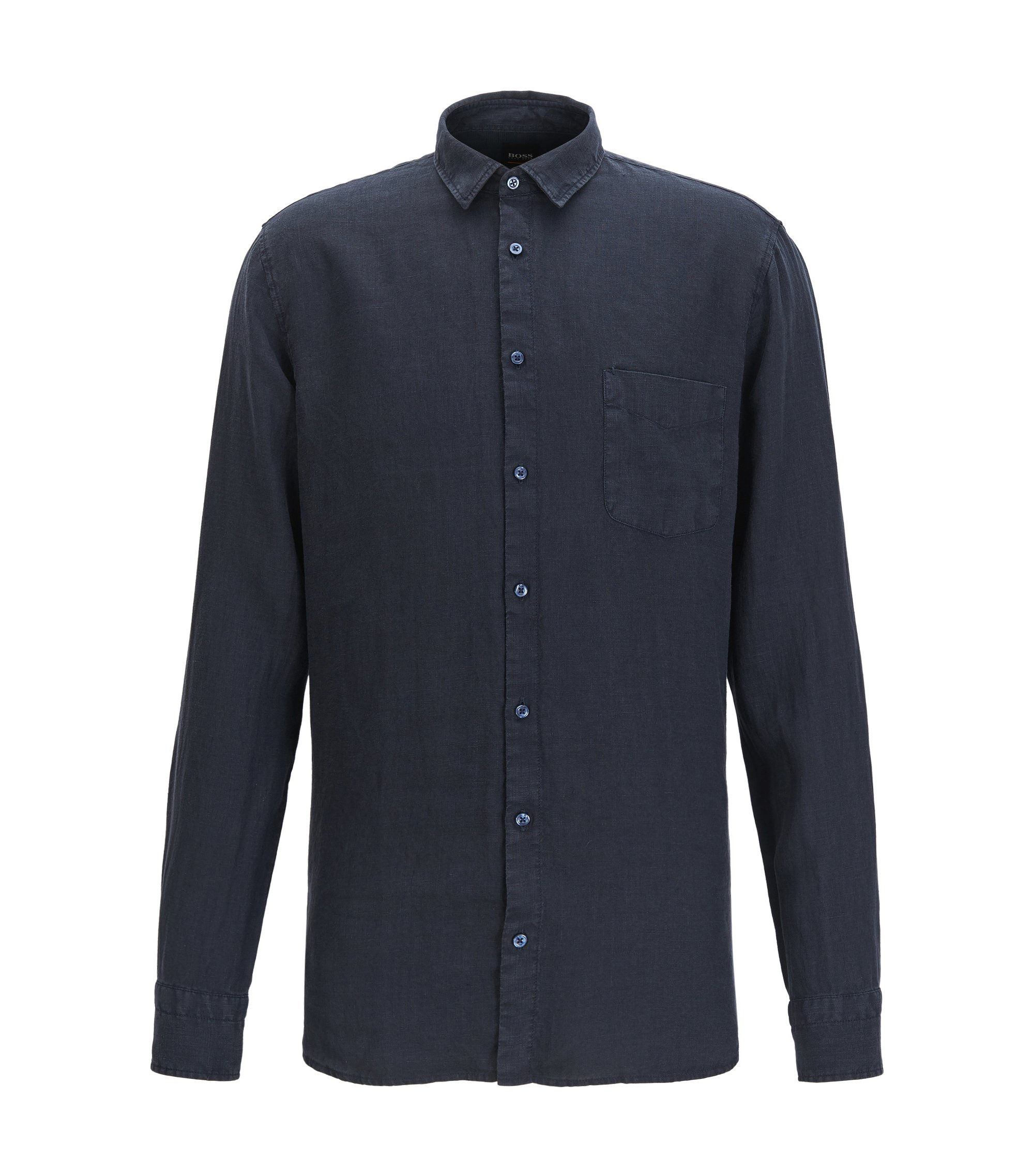 Slim-fit pigment-dyed shirt in cool linen, Dark Blue