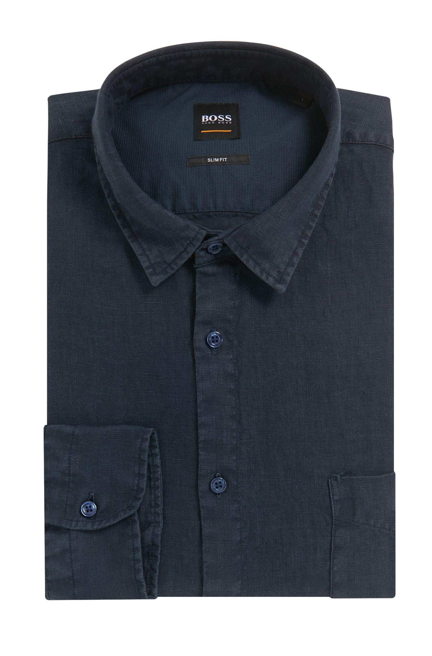 Pigmentgefärbtes Slim-Fit Hemd aus kühlendemLeinen