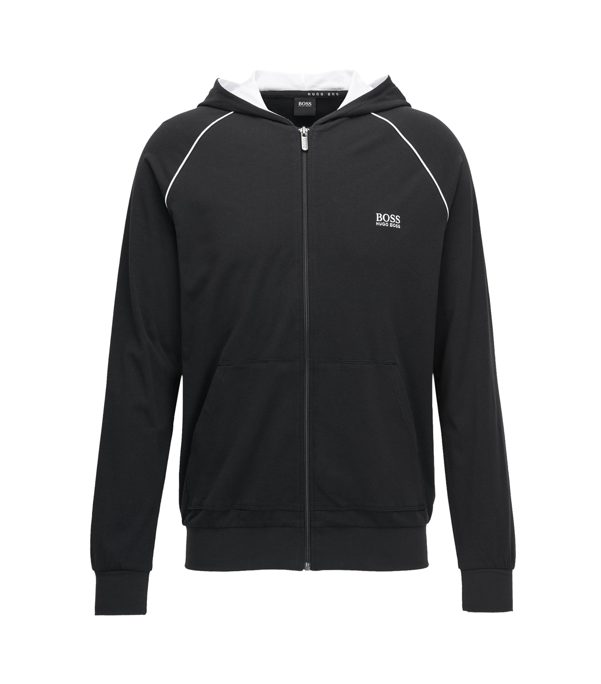 Zip-through hoodie in stretch cotton jersey with contrast piping, Black