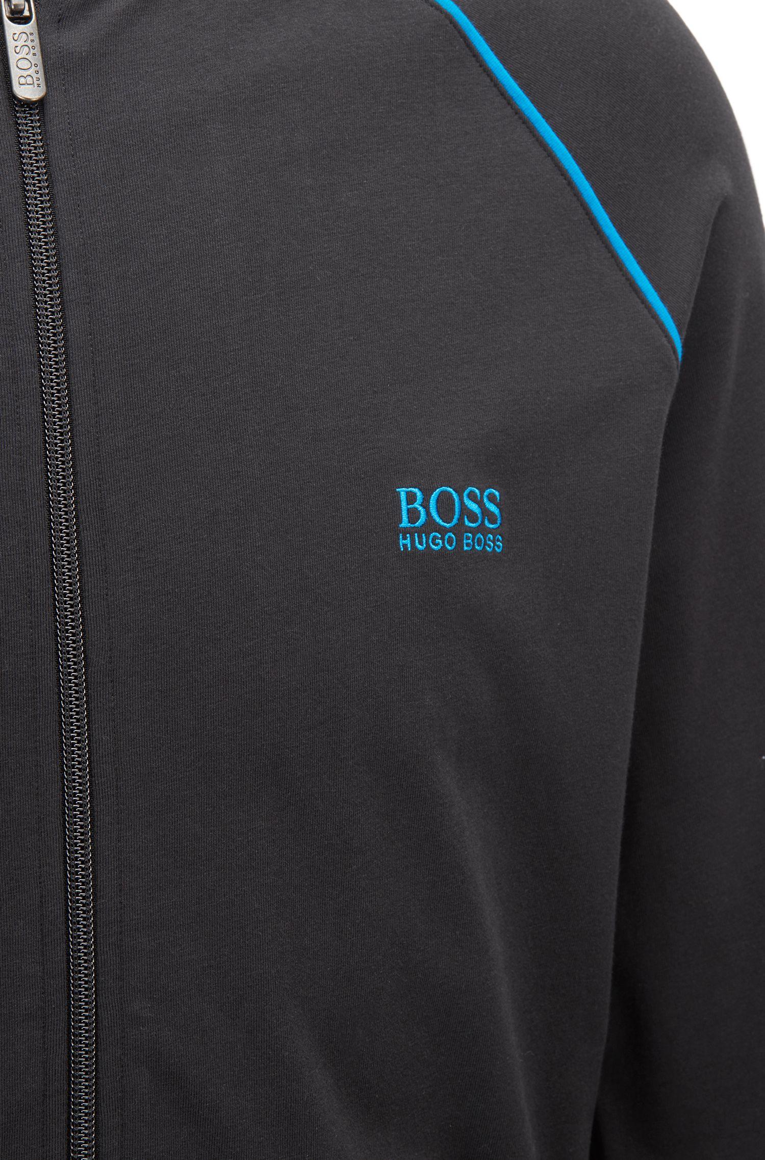 Veste zippée à capuche en jersey de coton stretch, à passepoils contrastants, Noir