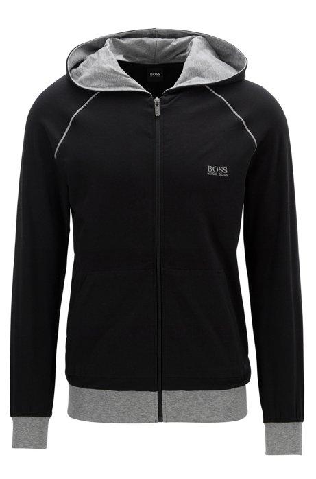 Giacca con cappuccio e zip integrale in jersey di cotone elasticizzato con profili a contrasto, Nero