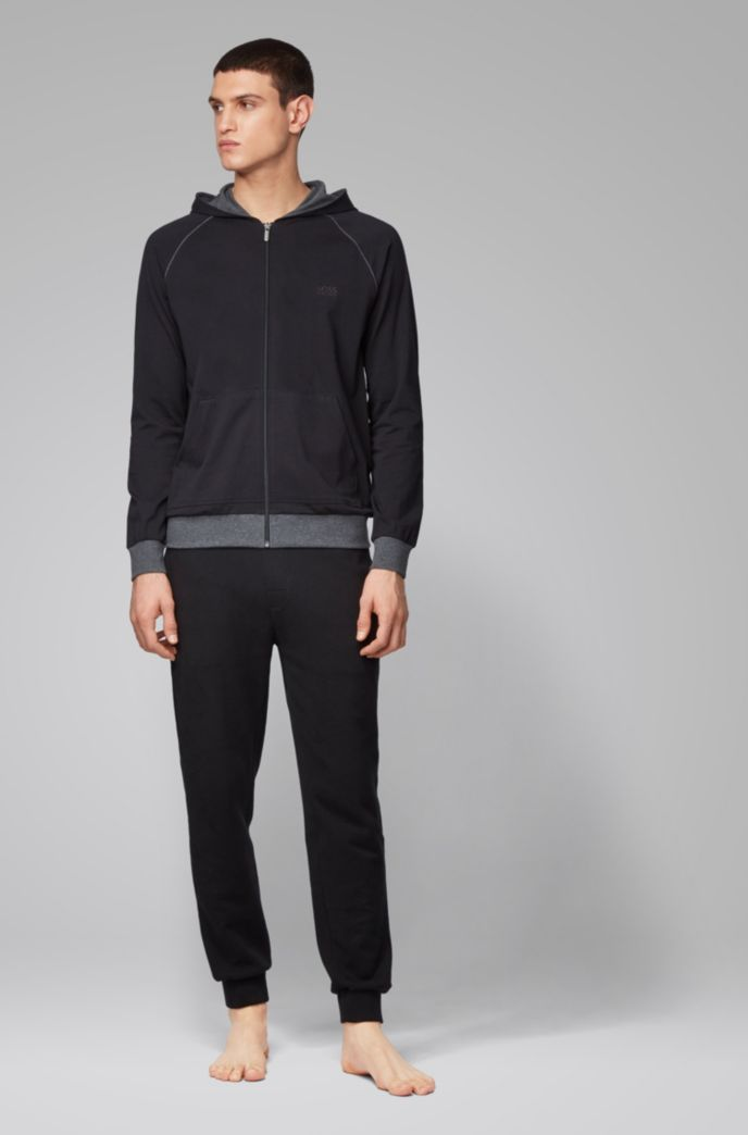 Zip-through hoodie in stretch cotton jersey with contrast piping