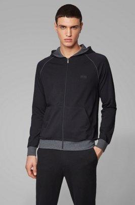 Sudadera con capucha y cremallera integral en punto de algodón elástico con ribeteado en contraste, Negro