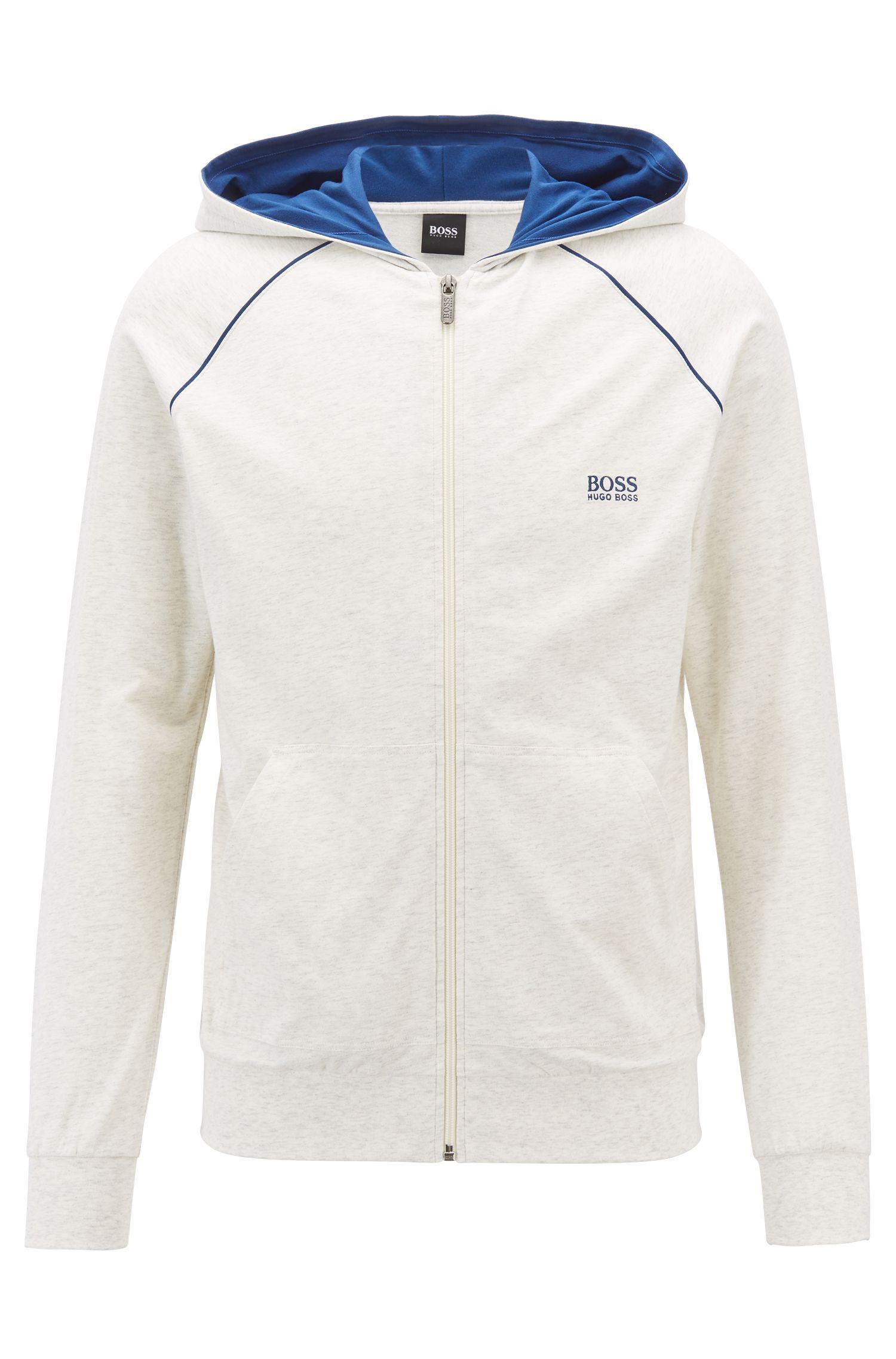 Veste zippée à capuche en jersey de coton stretch, à passepoils contrastants, Gris