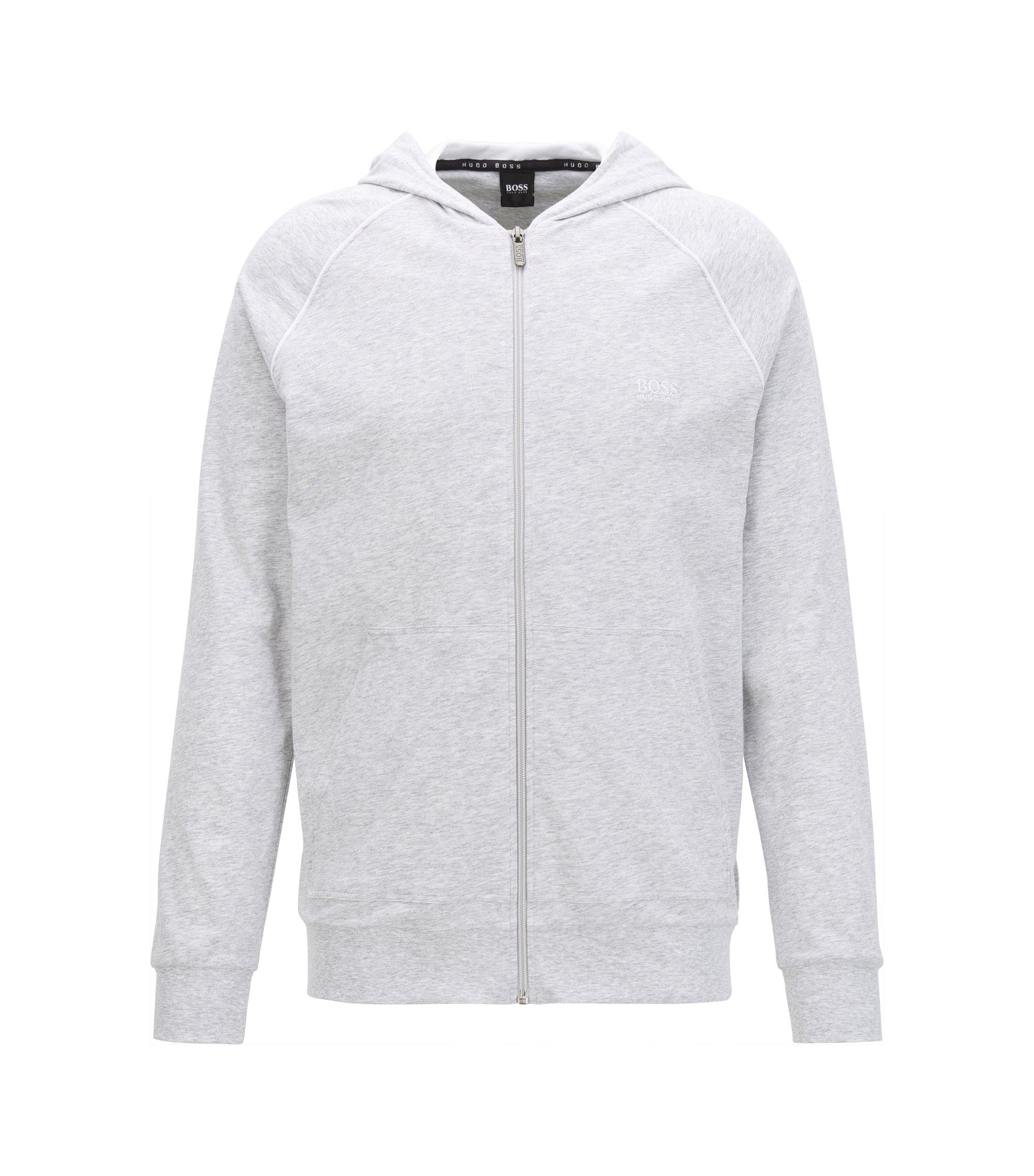 Sudadera con capucha y cremallera integral en punto de algodón elástico con ribeteado en contraste, Gris