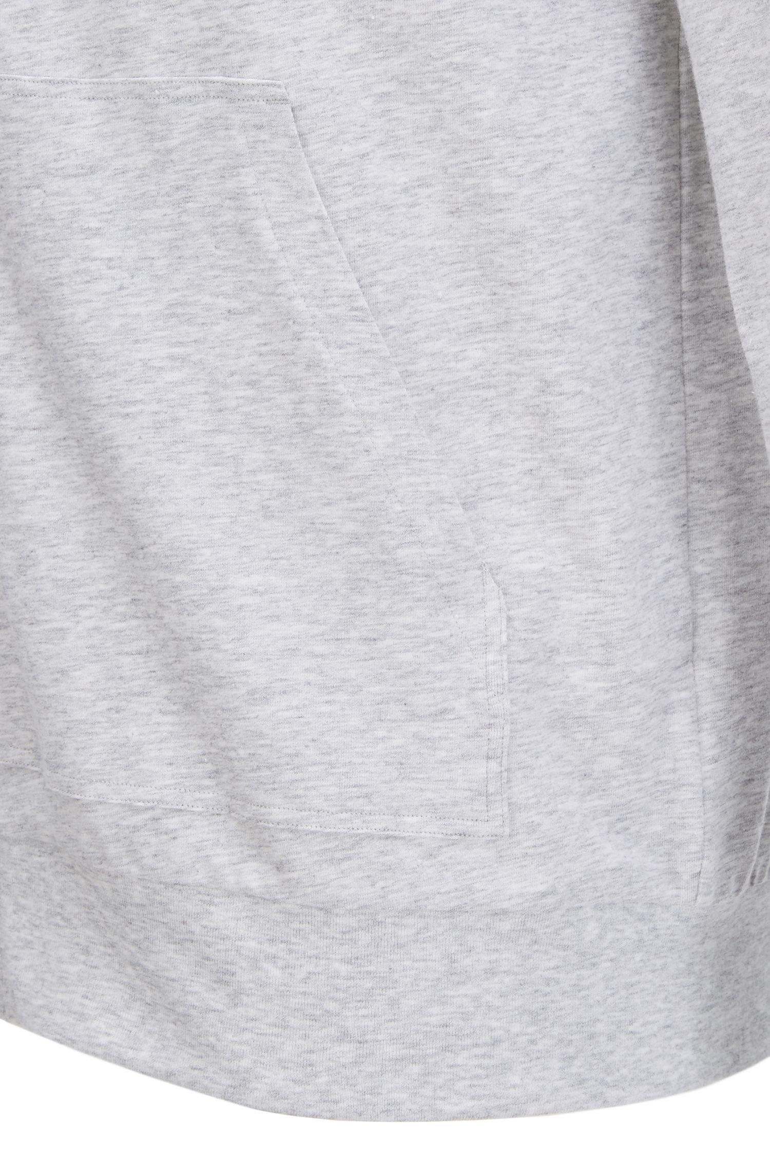 Veste zippée à capuche en jersey de coton stretch, à passepoils contrastants