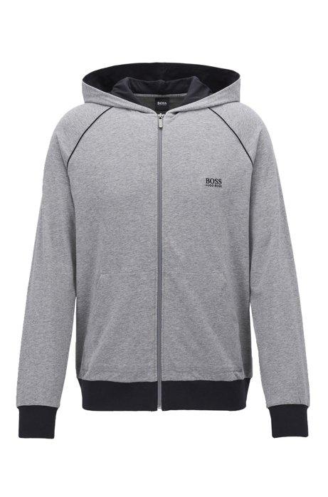 Giacca con cappuccio e zip integrale in jersey di cotone elasticizzato con profili a contrasto, Grigio