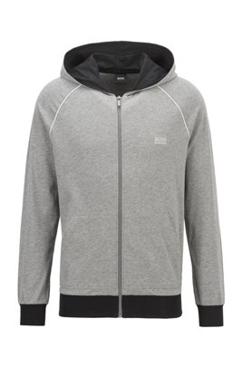 Zip-through hoodie in stretch cotton jersey with contrast piping, Grey