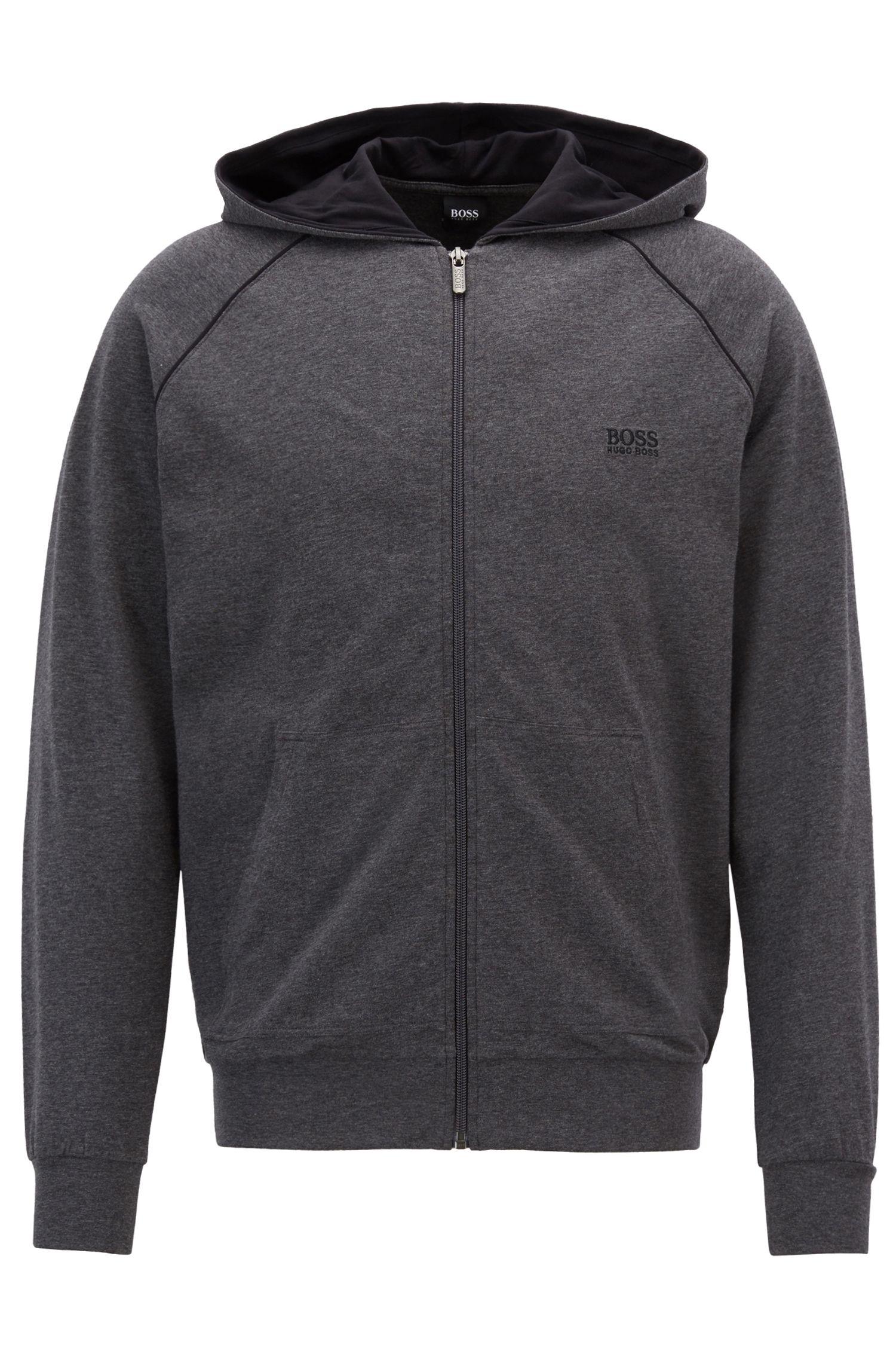 Kapuzenjacke aus Stretch-Baumwolle mit kontrastfarbenen Paspeln, Grau