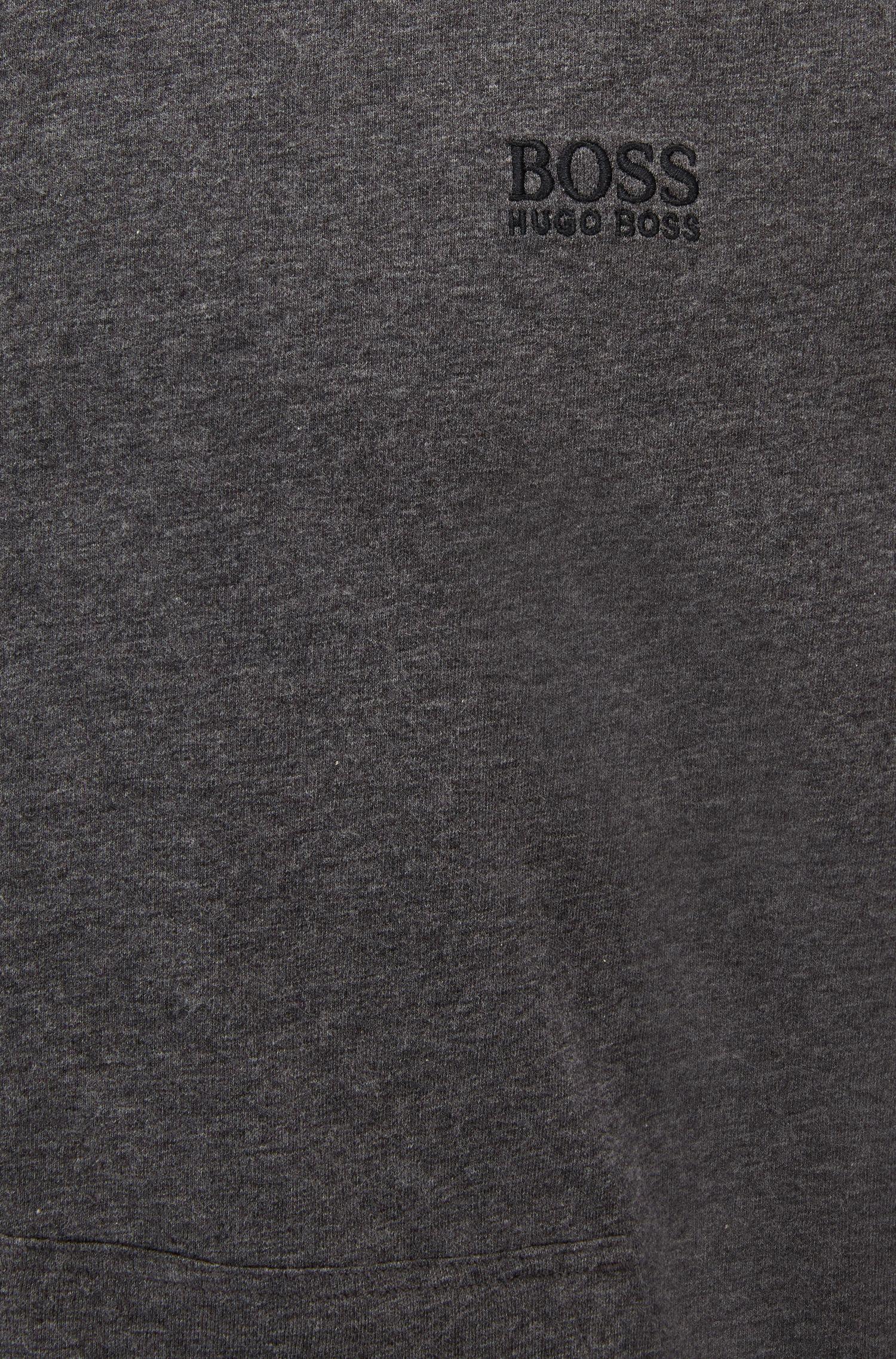 Capuchontrui van stretchkatoenjersey met contrastbiezen en rits, Grijs