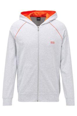 Veste zippée à capuche en jersey de coton stretch, à passepoils contrastants, Gris chiné