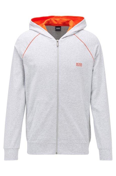 Giacca con cappuccio e zip integrale in jersey di cotone elasticizzato con profili a contrasto, Grigio chiaro