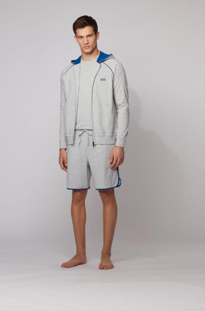 Kapuzenjacke aus Stretch-Baumwolle mit kontrastfarbenen Paspeln