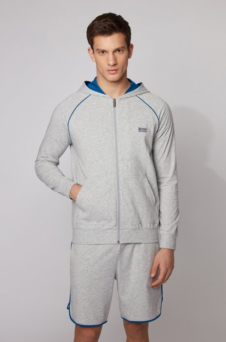 Zip-through hoodie in stretch cotton jersey with contrast piping, Light Grey