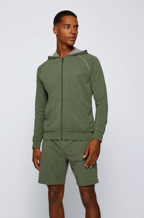 Kapuzenjacke aus Stretch-Baumwolle mit kontrastfarbenen Paspeln, Hellgrün