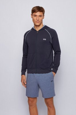 Zip-through hoodie in stretch cotton jersey with contrast piping, Dark Blue