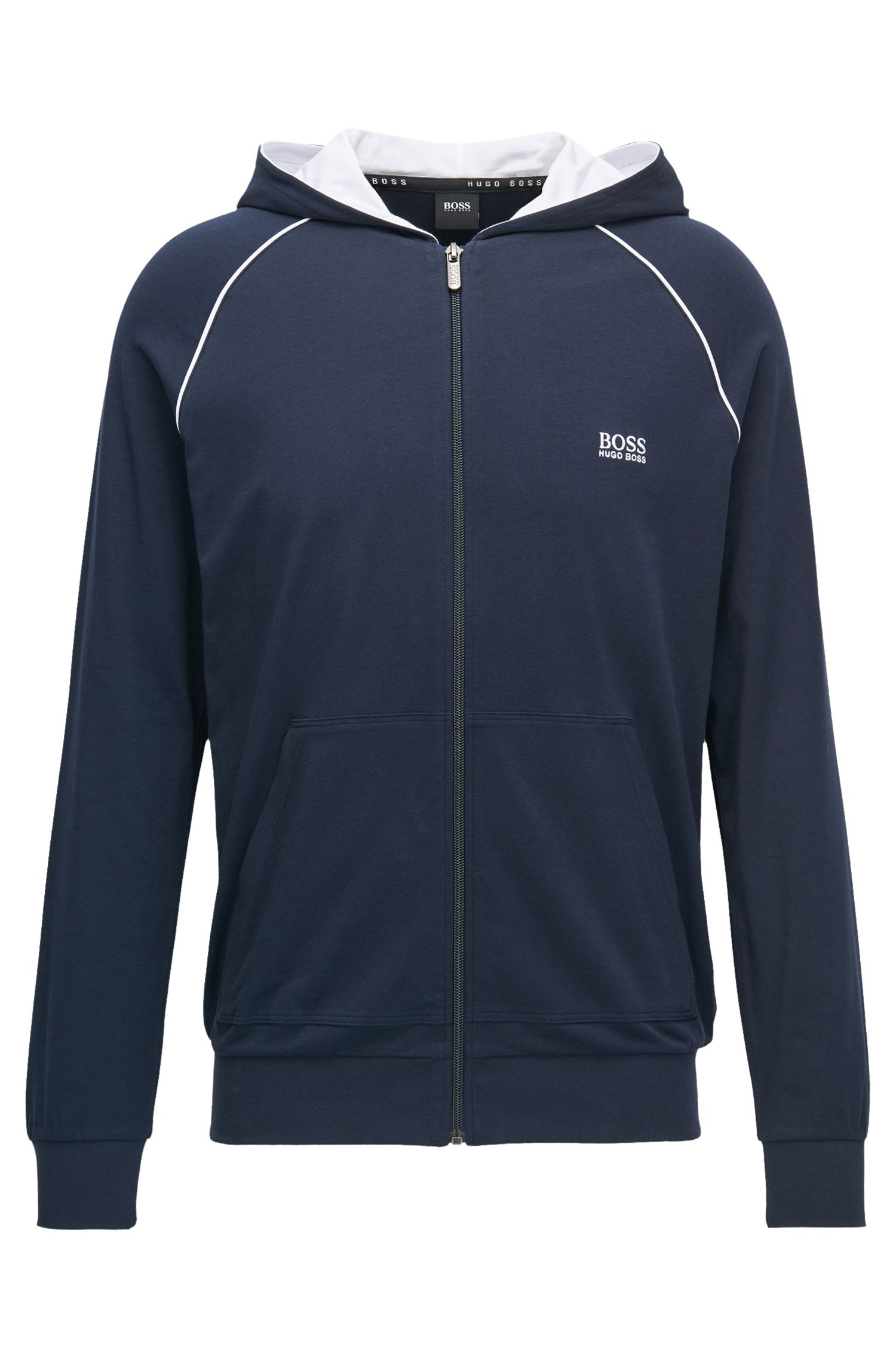 Giacca con cappuccio e zip integrale in jersey di cotone elasticizzato con profili a contrasto
