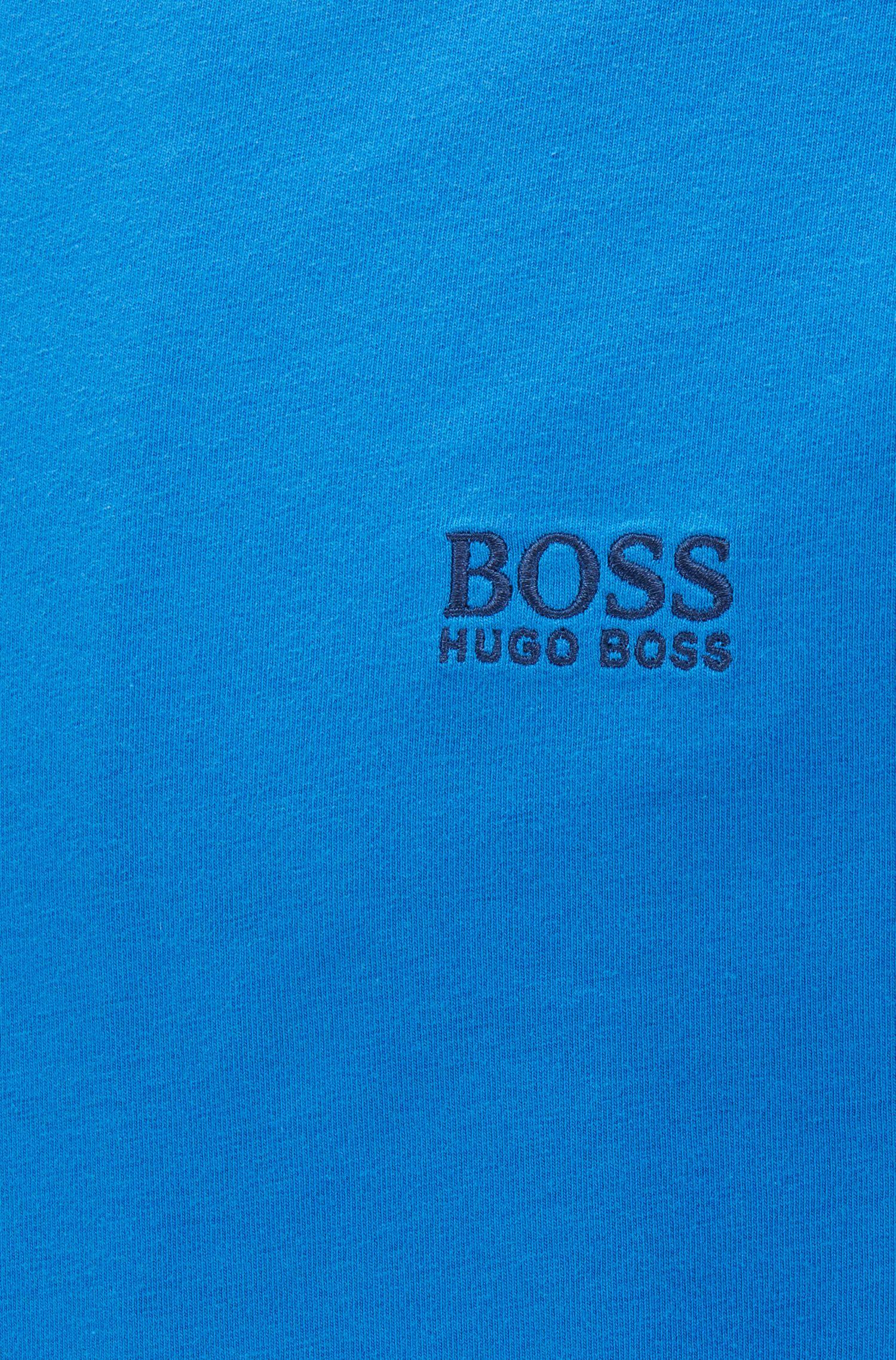Giacca con cappuccio e zip integrale in jersey di cotone elasticizzato con profili a contrasto, Blu
