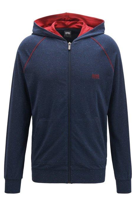 Giacca con cappuccio e zip integrale in jersey di cotone elasticizzato con profili a contrasto, Blue Scuro