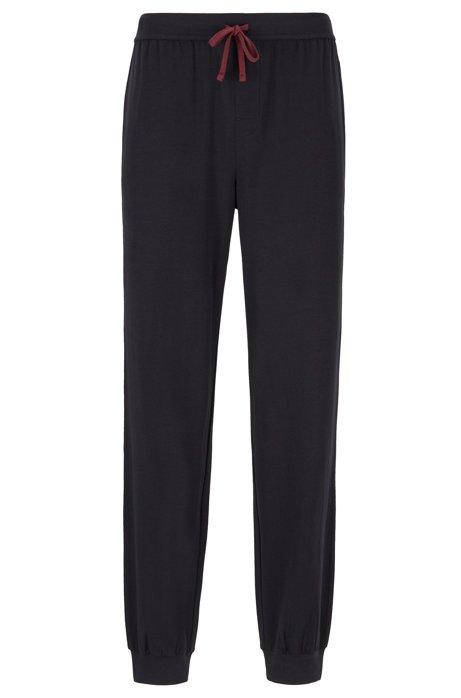 Cuffed loungewear trousers in stretch cotton, Black