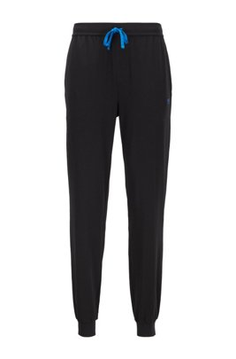 Cuffed loungewear trousers in stretch cotton, Black