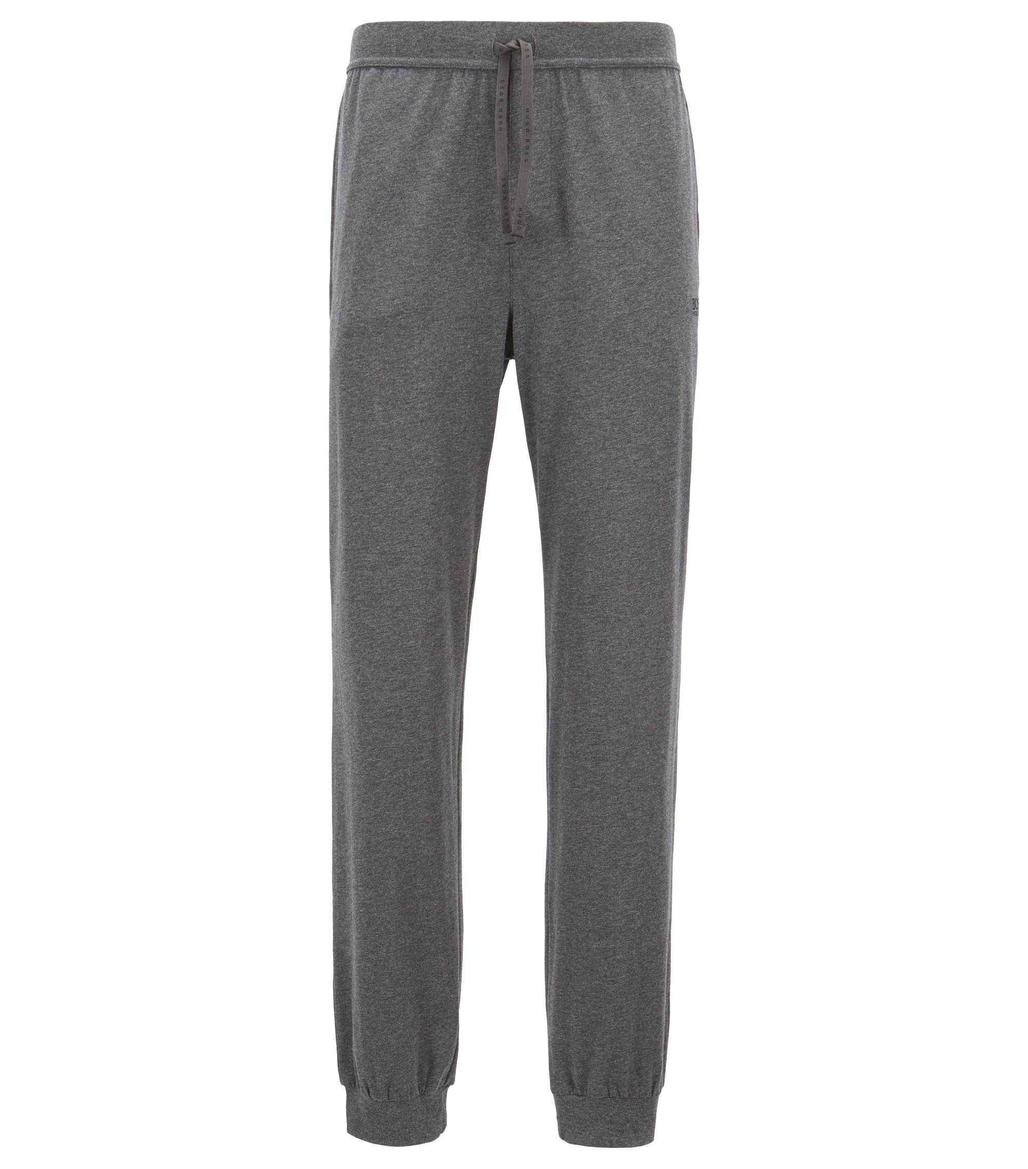Cuffed loungewear trousers in stretch cotton, Grey
