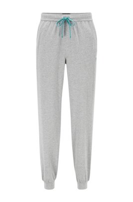 Cuffed loungewear trousers in stretch cotton, Silver