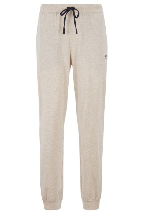Cuffed loungewear trousers in stretch cotton, Light Grey