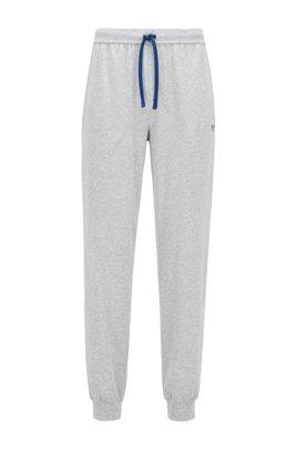 Cuffed loungewear trousers in stretch cotton, Light Grey