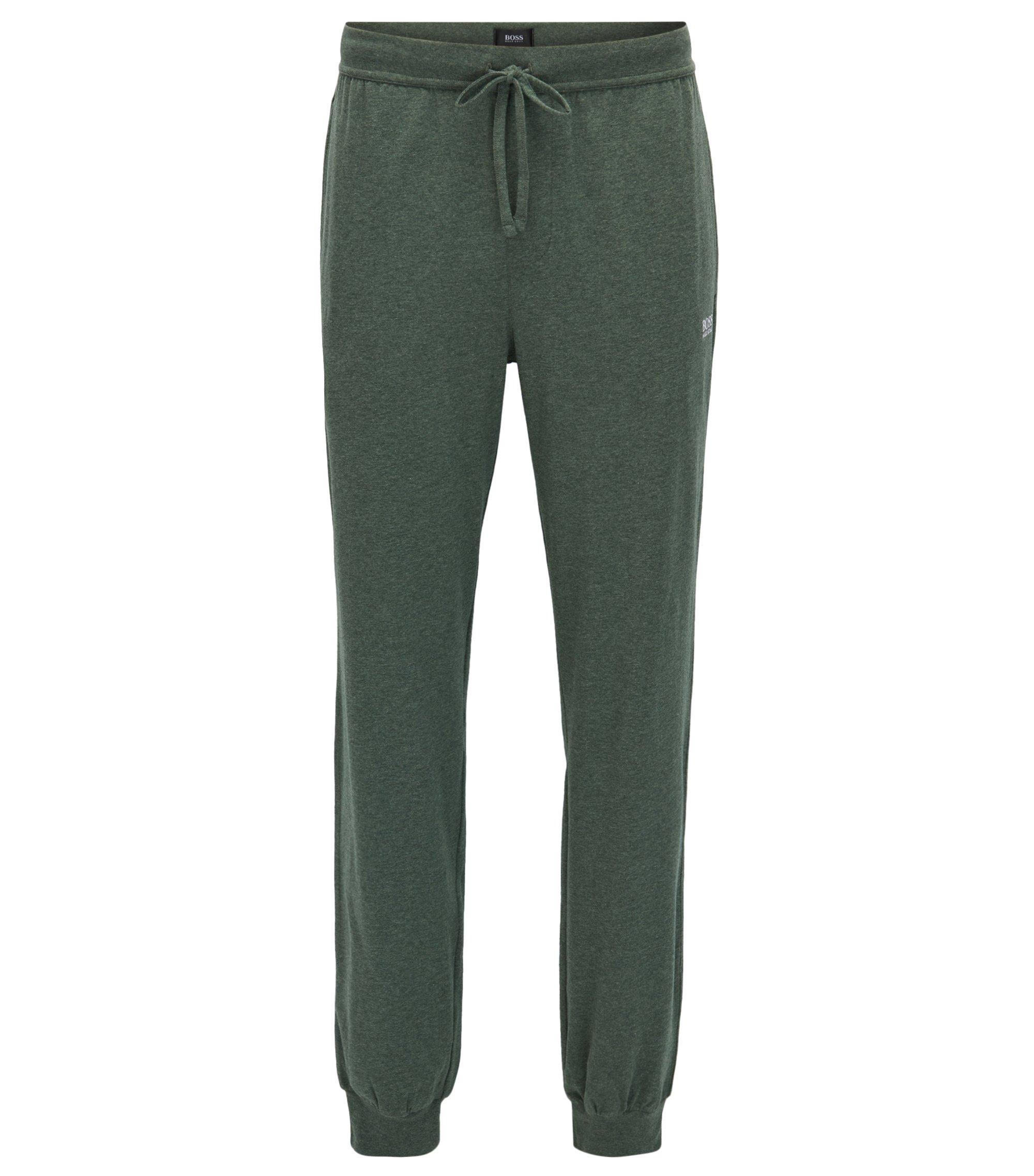 Pantalones loungewear con puños en algodón elástico, Verde oscuro