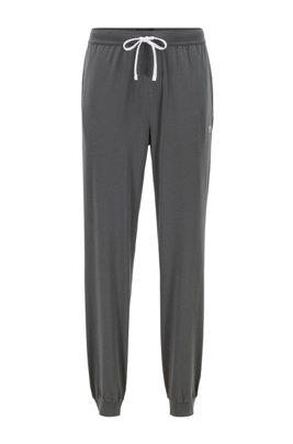 Cuffed loungewear trousers in stretch cotton, Dark Grey
