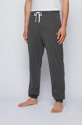 Cuffed loungewear trousers in stretch cotton, Dark Grey