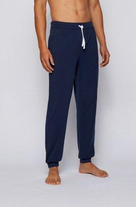 Cuffed loungewear trousers in stretch cotton, Dark Blue